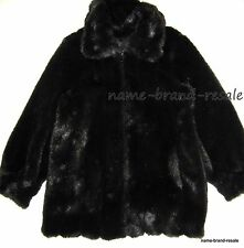 DENNIS BASSO Womens M MEDIUM Black FAUX FUR Coat Winter Jacket BEAUTIFUL