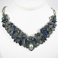 Lucky Brand Faceted Blue Stone Collar Necklace Silver Tone Metal Oval Link Chain