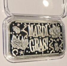 Mardi Gras Celebration 1 Troy Oz .999 Fine Silver Collectible Bar Ag New Orleans