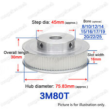 3M80T Timing Belt Pulley 80 Teeth Gear 8-25mm Bore 3mm Pitch for 15mm Wide Belt