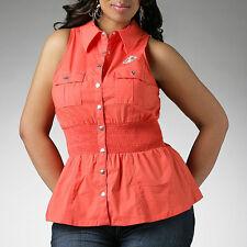 Dereon Orange Sleeveless snap front Peplum Shirt sz  PLUS SIZE 3X *