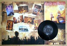 """EX/EX IRON MAIDEN RUNNING FREE (LIVE) POSTER SLEEVE 1985 7"""" VINYL EMI 5532"""