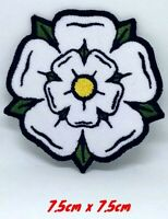 White Yorkshire Rose iron on sew on Embroidered Patch applique