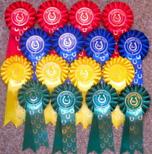ROSETTES horse shoe tails 4 x 1st to 4th SHOW NAME INCLUDED,