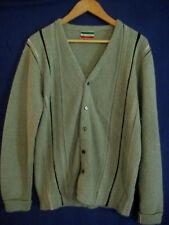 vtg 1950s 1960s mens SWEATER sz S M cardigan blue wool stripes Rockabilly WPL #