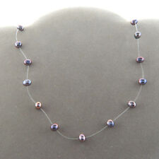 Sterling Silver Peacock Blue Pearl Choker Invisible Interval Necklace