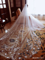 Unique Bridal Veils 2T Cathedral Length Star Lace Applique Veil For Wedding+Comb