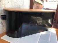 Grey black Enamel Bread Bin Bread Crock With Bamboo Lid loaf bin 42x18x16cm