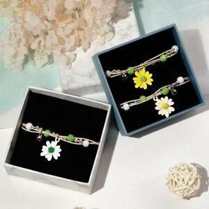 Sweet Ceramics Beaded Crystal Daisy Flower Star Pearl Pendant Bracelet Jewelry