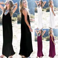 Women's Sleeveless Maxi Long Dress Holiday Casual Summer Party Beach Sundress