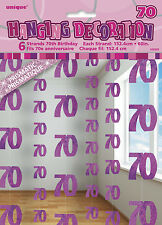 **70TH BIRTHDAY CELEBRATIONS**  Pack of 6 - 70th Hanging String Decorations!