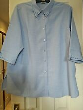 Classics Long Collared Blouse  Top Plus Size 20 Blue