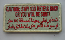 CAUTION STAY 100 METERS BACK SHOT USA ARABIC BLACK OPS TACTICAL  PATCH  SH  593