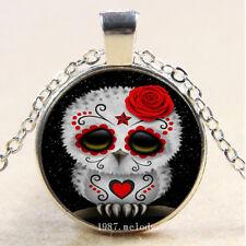 New Cabochon Glass Silver/Bronze/Black Pendant Necklace(Sugar Skull Owl