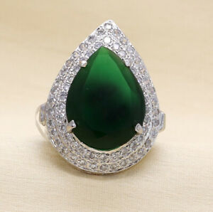 Traditional Royal Look Designer Emerald Ring White Gold plated 22 GR 11
