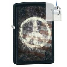 Zippo 28864 peace sign & flag Lighter & Z-PLUS INSERT BUNDLE