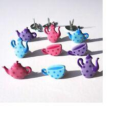 Brads - Bulk Tea party pot and cup girl teapot - pk 15 - scrapbooking