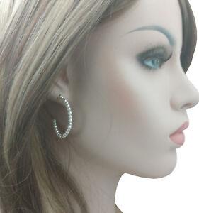 "Faux Pearl Beaded Hoop Pierced Earrings 1 1/2"""