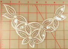 """12 white embroidered organza appliques with 5 flowers design AB sequins 8"""" x 5"""""""
