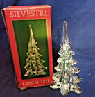 """Vintage Silvestri Glass Crystal Christmas Pine Tree With Green Accents  8.5"""""""