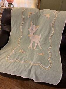 VINTAGE BABY BED GREEN WITH DEER CHENILLE BEDSPREAD / BLANKET 39 x 68.5
