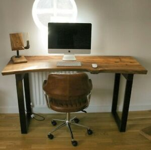 Office Desk solid Live-edge timber. Waney edge slab solid wood office furniture