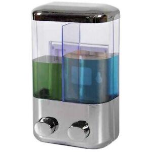 Dispenser Sapone Liquido Doppio a Parete Casa Negozio Bagno 2 x 500 ml cromo
