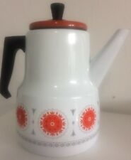 Retro stove top tea Camping Kettle  white with bright orange Pattern