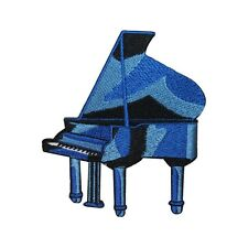 ID 3175 Blue Grand Piano Patch Musical Instrument Embroidered Iron On Applique