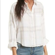 $88 NWT Free People Cotton Cropped Plaid Ivory White Button Down Shirt XS