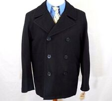 NWT LEVIS STRAUSS Men's Large/L Black WOOL Blend NAVY PEACOAT/Jacket ANCHOR BUTT