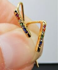 Yellow Gold on Silver Rainbow Sapphire Ladies Pull Through Earrings 925 Sterling