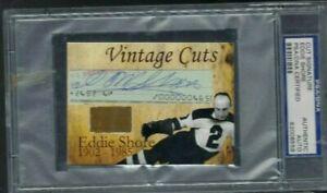 Eddie Shore PSA/DNA Certified Autograph Signature Cut Custom Card w/ Game Glove