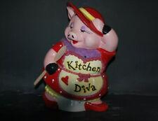 "Kitchen Diva Pig Cookie Jar Red Hat Society Piggy Mercuries Ceramic VTG 13"""