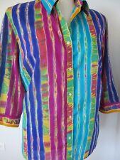 RALPH LAUREN WOMAN Purple Blue Multi Print Cotton 3/4 Sleeve Blouse Plus 2X Exc
