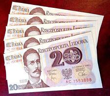 A set of 5 Banknotes POLAND-20 Zlotych-1982 *UNC* Prefix AC P-149a