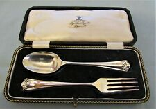 LOVELY HALLMARKED SILVER CHRISTENING SPOON & FORK BOXED BY ATKIN BROS 1928