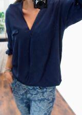 Wickel Bluse L 40 Tunika Warm Business Blogger Trend Shirt Boyfriend Blau E31k