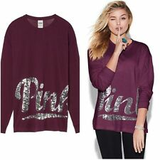 Victoria's Secret PINK NEW Long Sleeve Campus Bling Tee Burgundy XSmall NWT