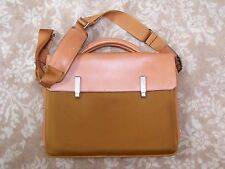 Piquadro Italy British Tan Leather and Canvas Modern Briefcase Laptop Messenger