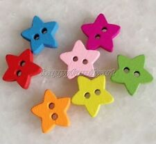 100pcs Multicolored Small Star Wooden Buttons Fit Sewing and Scrapbook ynk011
