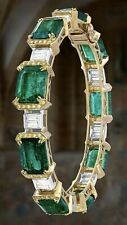 Yellow Gold Plated 925 Sterling Silver Bangle Bracelet CZ Green Emerald Handmade