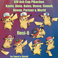 6IV Ultra Shiny Ash Cap Pikachu All Regions World Pokemon Sword and Shield