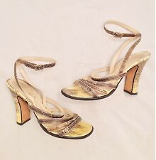 Womens - PRADA - VTG Gold Brown Snakeskin Strappy High Heel Sandals Pumps 7.5 38