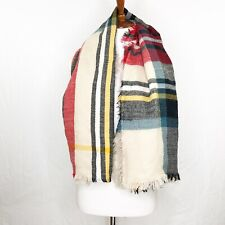 Womens Blanket Scarf Plaid Multi Colored Fringe Cozy Wrap Large