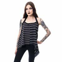 Chemical Black Lanar Black & Grey Mismatch Striped Top - Gothic,Goth