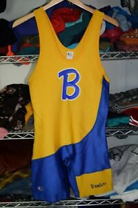 Cliff Keen Usa Made vtg Wrestling Singlet Bombers Blue Yellow Large