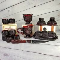 VINTAGE AVON 1876 Cap Cod Ruby Red Collection Set