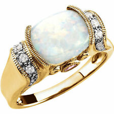 Genuine Opal Cabochon Pink Tourmaline & 1/6 ct tw Diamonds Ring 14K. Yellow Gold