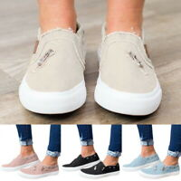WOMENS LADIES FLATS SLIP ON PUMPS CANVAS CASUAL SHOES LOAFERS TRAINERS SIZE CL